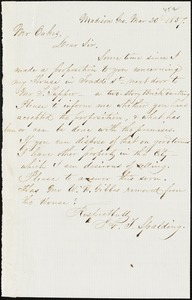 A.T. Spalding, Madison, Ga., autograph letter signed to Ziba B. Oakes, 20 March 1857