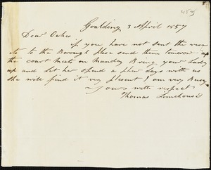 Thomas Limehouse, Goulding, S.C.[?], autograph note signed to Ziba B. Oakes, 3 April 1857