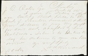 H. H. Kinard, Newberry, S.C., autograph note signed to Ziba B. Oakes, 16 March 1857