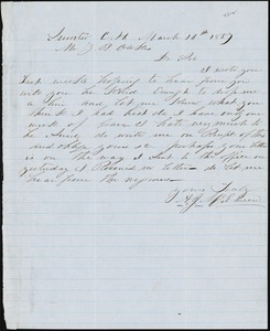 A. J. McElveen, Sumter Court House, S.C., autograph note signed to Ziba B. Oakes, 16 March 1857