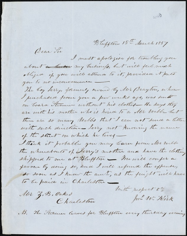 John W. Kirk, Bluffton, S.C., autograph note signed to Ziba B. Oakes, 15 March 1857