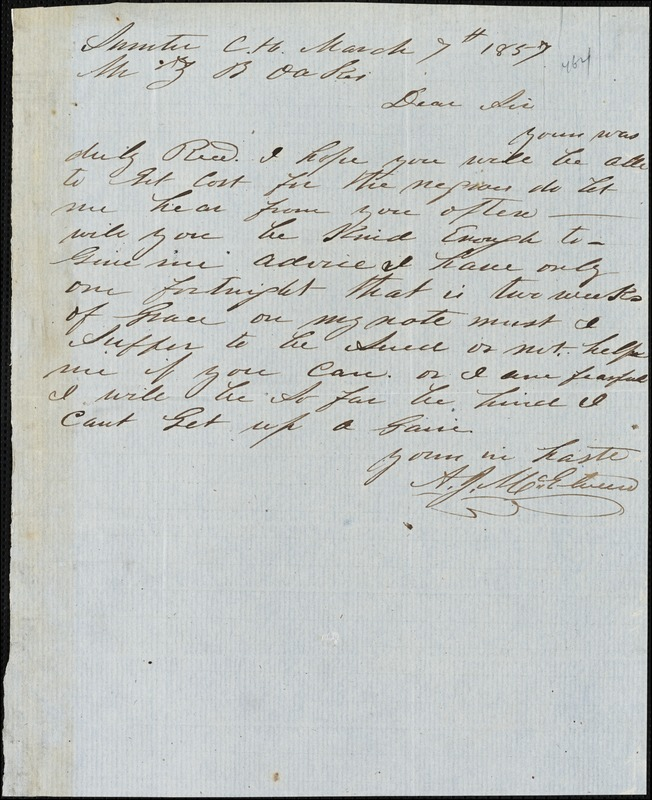 A. J. McElveen, Sumter Court House, S.C., autograph note signed to Ziba B. Oakes, 7 March 1857