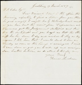 Thomas Limehouse, Goulding, S.C.[?], autograph note signed to Ziba B. Oakes, 19 March 1857
