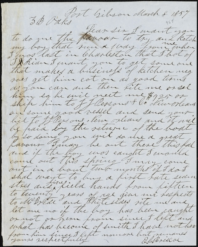 E. C. Briscoe, Port Gibson, Miss., autograph letter signed to Ziba B. Oakes, 8 March 1857
