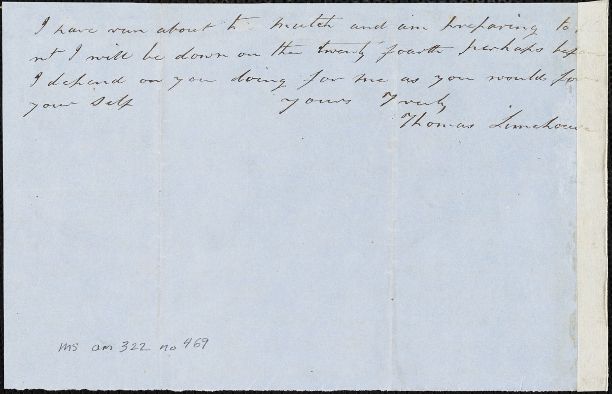 Thomas Limehouse, Goulding, S.C.[?], autograph letter signed to Ziba B. Oakes, 16 March 1857