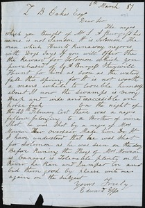 Edward Epps, autograph letter signed to Ziba B. Oakes, 6 March 1857