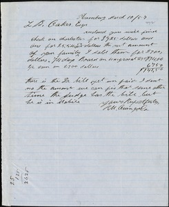 Owings, R.M. & Co., Hamburg, manuscript letter signed to Ziba B. Oakes, 10 March 1857