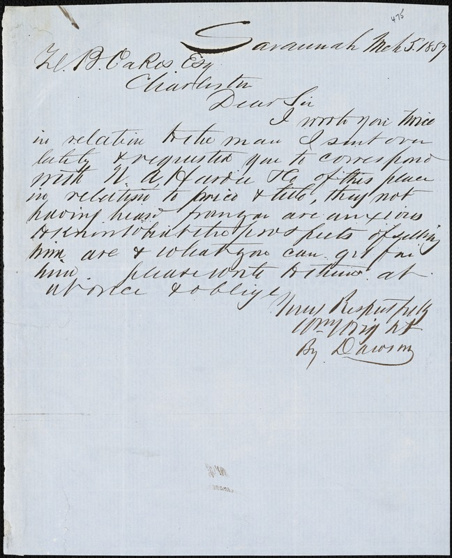William Wright, Savannah, Ga., manuscript note signed to Ziba B. Oakes, 5 March 1857
