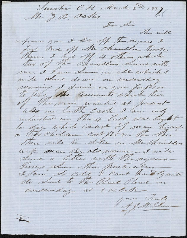 A. J. McElveen, Sumter Court House, S.C., autograph note signed to Ziba B. Oakes, 2 March 1857