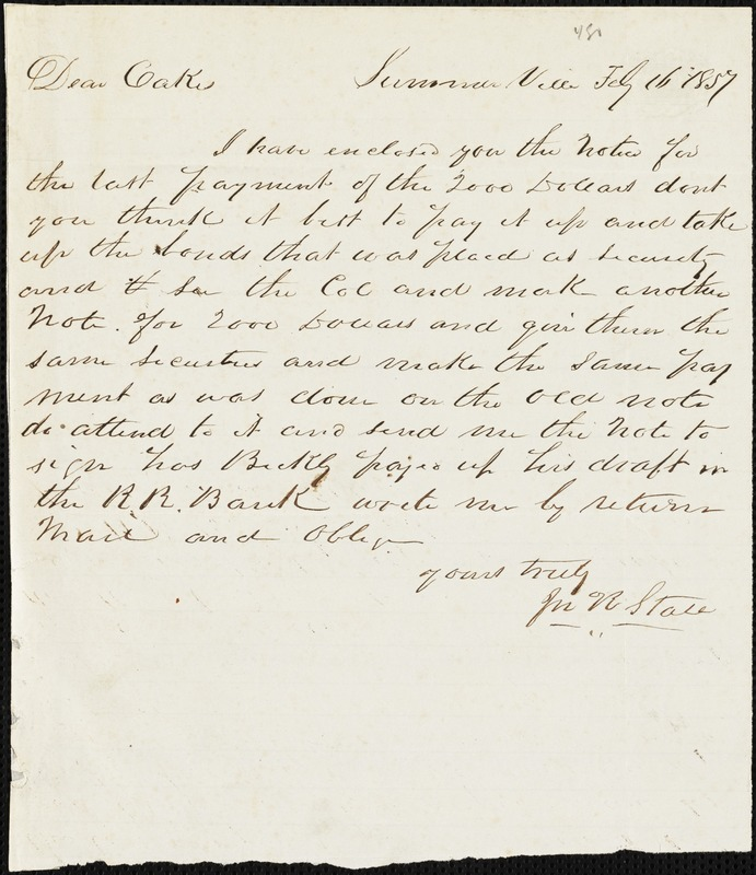 J.R. Stall, Summerville, S.C., autograph note signed to Ziba B. Oakes, 16 February 1857