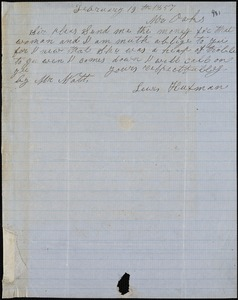 Lewis Hufman autograph note signed to Ziba B. Oakes, 19 February 1857