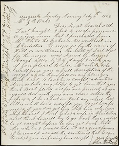 John Mattingly, Augusta, Ga., autograph letter signed to Ziba B. Oakes, 15 February 1856