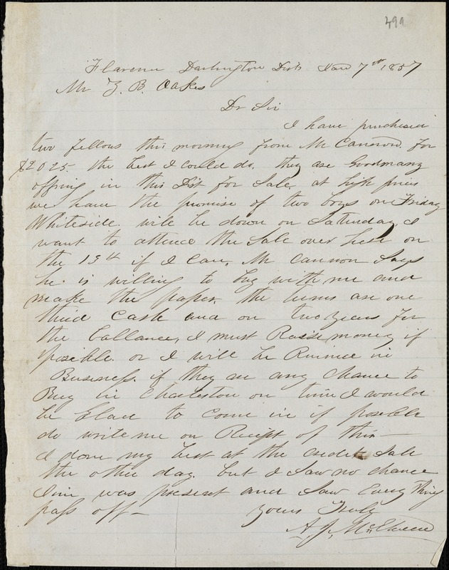 A. J. McElveen, Florence, S.C. [?], autograph letter signed to Ziba B. Oakes, 7 January 1857