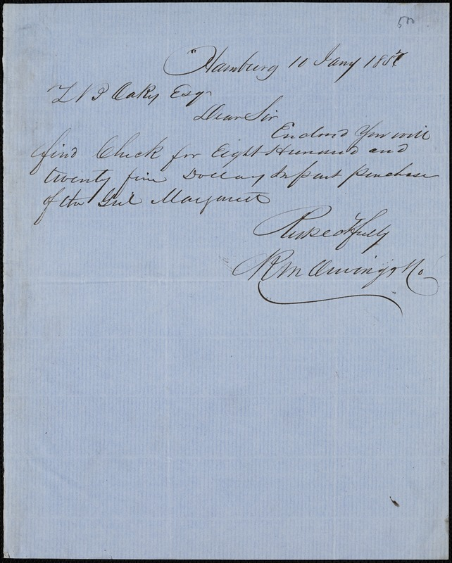 R. M. Owings, Hamburg, autograph letter signed to Ziba B. Oakes, 10 January 1857