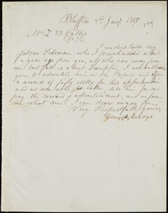 George A. Savage, Bluffton, S.C., manuscript note signed to Ziba B. Oakes, 3 January 1857