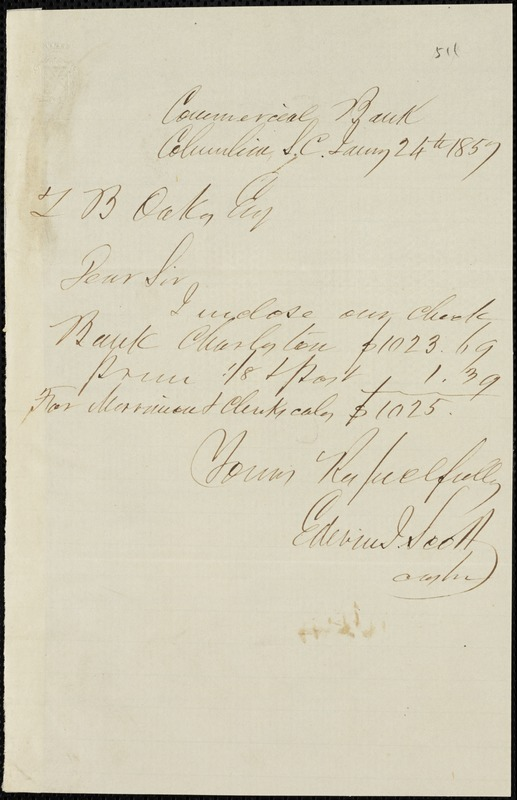 Columbia, S.C. Commercial Bank (Edwin I. Stone), Columbia, S.C., manuscript note signed to Ziba B. Oakes, 24 January 1857