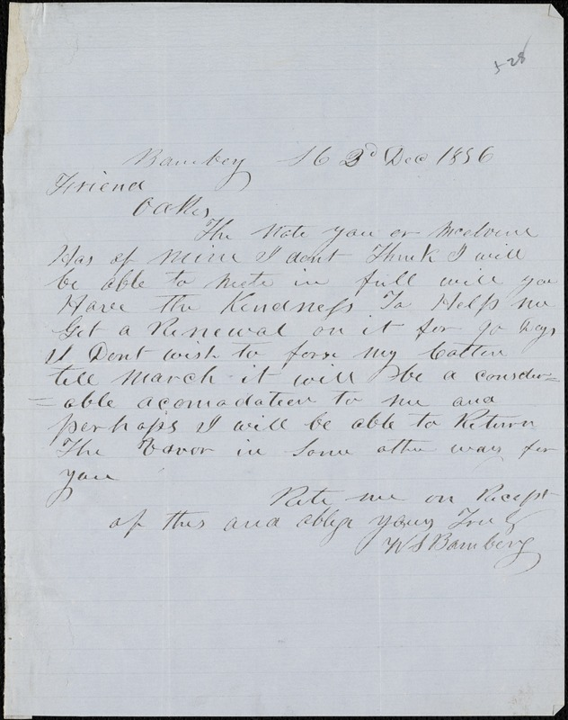W. S. Bamberg, Bamberg. S.C., autograph note signed to Ziba B. Oakes, 2 December 1856
