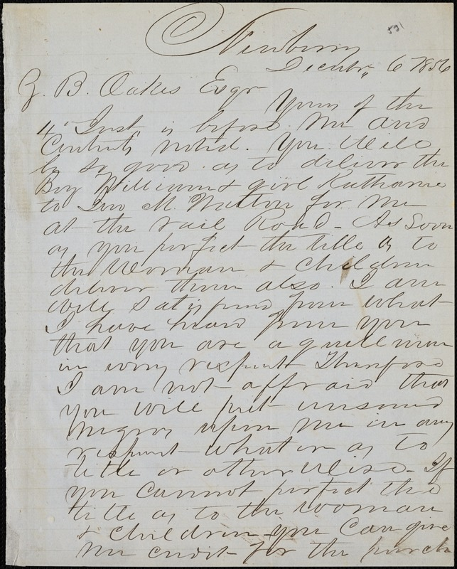 H. H. Kinard, Newberry, S.C., autograph letter signed to Ziba B. Oakes, 6 December 1856
