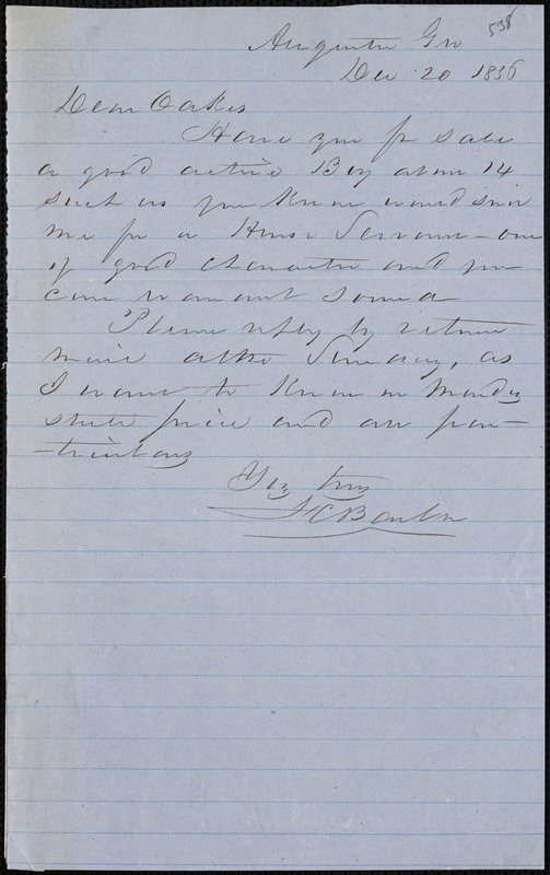 F. C. Barber, Augusta, Ga., autograph note signed to Ziba B. Oakes, 20 December 1856