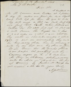 A. J. McElveen, Sumter Court House, S.C., autograph letter signed to Ziba B. Oakes, 30 December 1856
