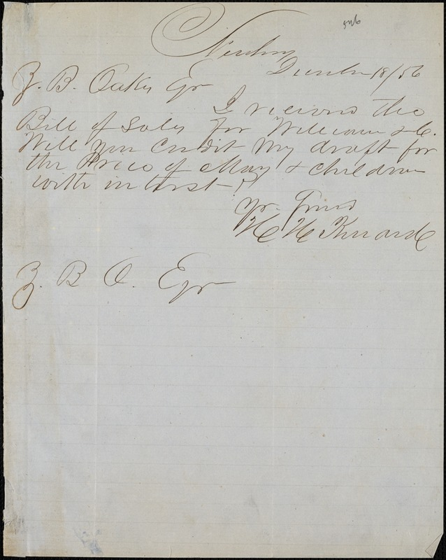 H. H. Kinard, Newberry, S.C., autograph note signed to Ziba B. Oakes, 18 December 1856