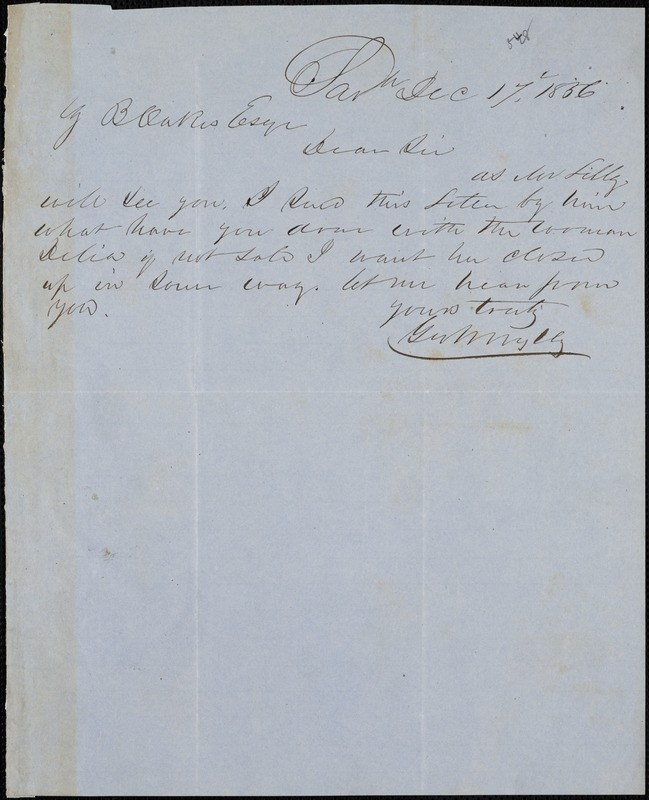George W. Wylly, Savannah, Ga., autograph note signed to Ziba B. Oakes, 17 December 1856