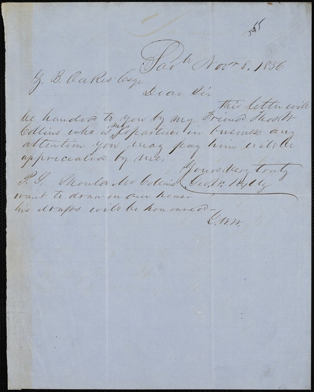 George W. Wylly, Savannah, Ga., autograph note signed to Ziba B. Oakes, 8 November 1856