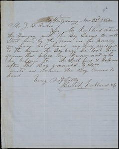 Burch, Kirkland & Co., Montgomery, Ala., manuscript note signed to Ziba B. Oakes, 22 November 1856