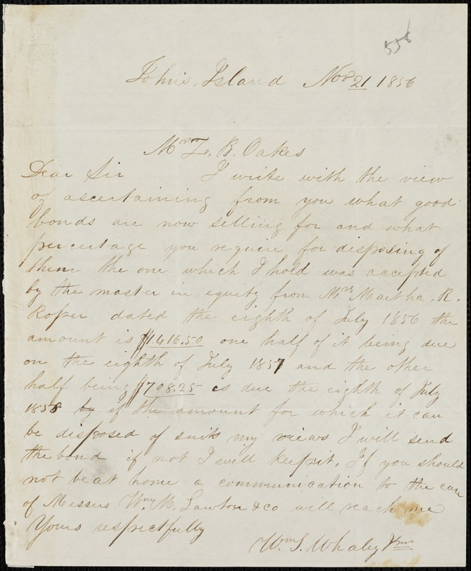 William T. Whaley, Jr., John's Island, S.C., autograph note signed to Ziba B. Oakes, 21 November 1856