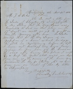 Burch, Kirkland & Co., Montgomery, Ala., manuscript letter signed to Ziba B. Oakes, 20 November 1856