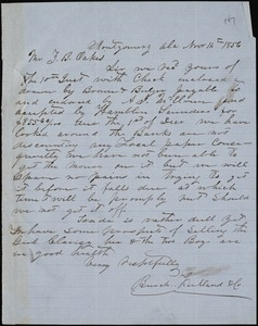 Burch, Kirkland & Co., Montgomery, Ala., manuscript letter signed to Ziba B. Oakes, 14 November 1856