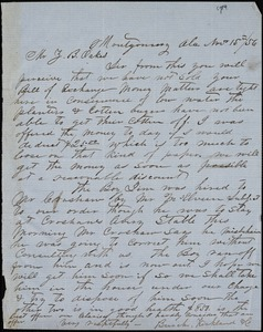 Burch, Kirkland & Co., Montgomery, Ala., manuscript letter signed to Ziba B. Oakes, 15 November 1856