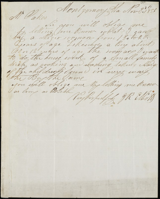J.R. Elliott, Montgomery, Ala., manuscript note signed to Ziba B. Oakes, 3 November 1856