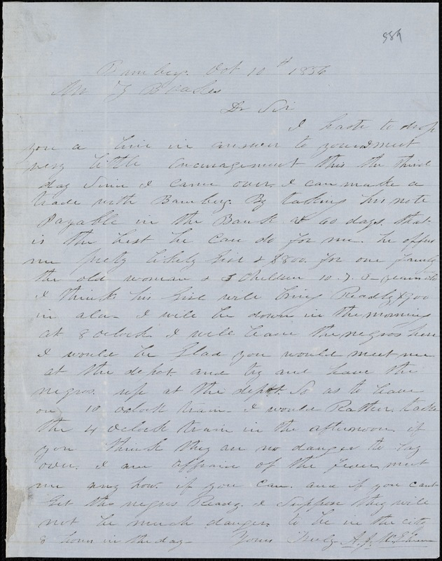 A. J. McElveen, Bamberg, S.C., autograph letter signed to Ziba B. Oakes, 10 October 1856