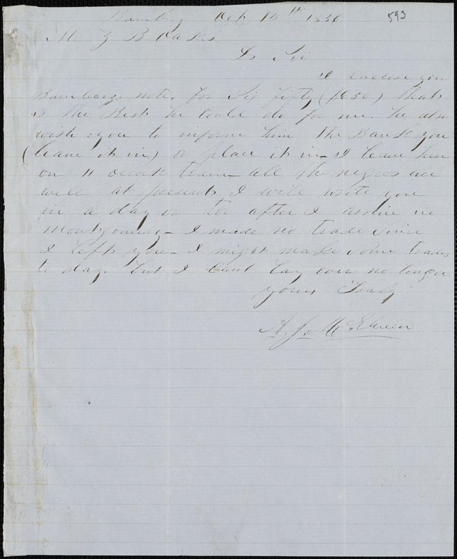 A. J. McElveen, Bamberg, S.C., autograph note signed to Ziba B. Oakes, 15 October 1856