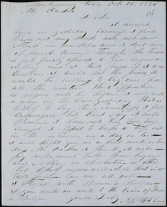 A. J. McElveen, Montgomery, Ala., autograph letter signed to Ziba B. Oakes, 15 October 1856