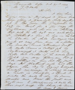 A. J. McElveen, Hainville, Ala., S.C., autograph letter signed to Ziba B. Oakes, 21 October 1856