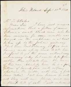 William T. Whaley, Jr., John's Island, S.C., autograph letter signed to Ziba B. Oakes, 18 September 1856