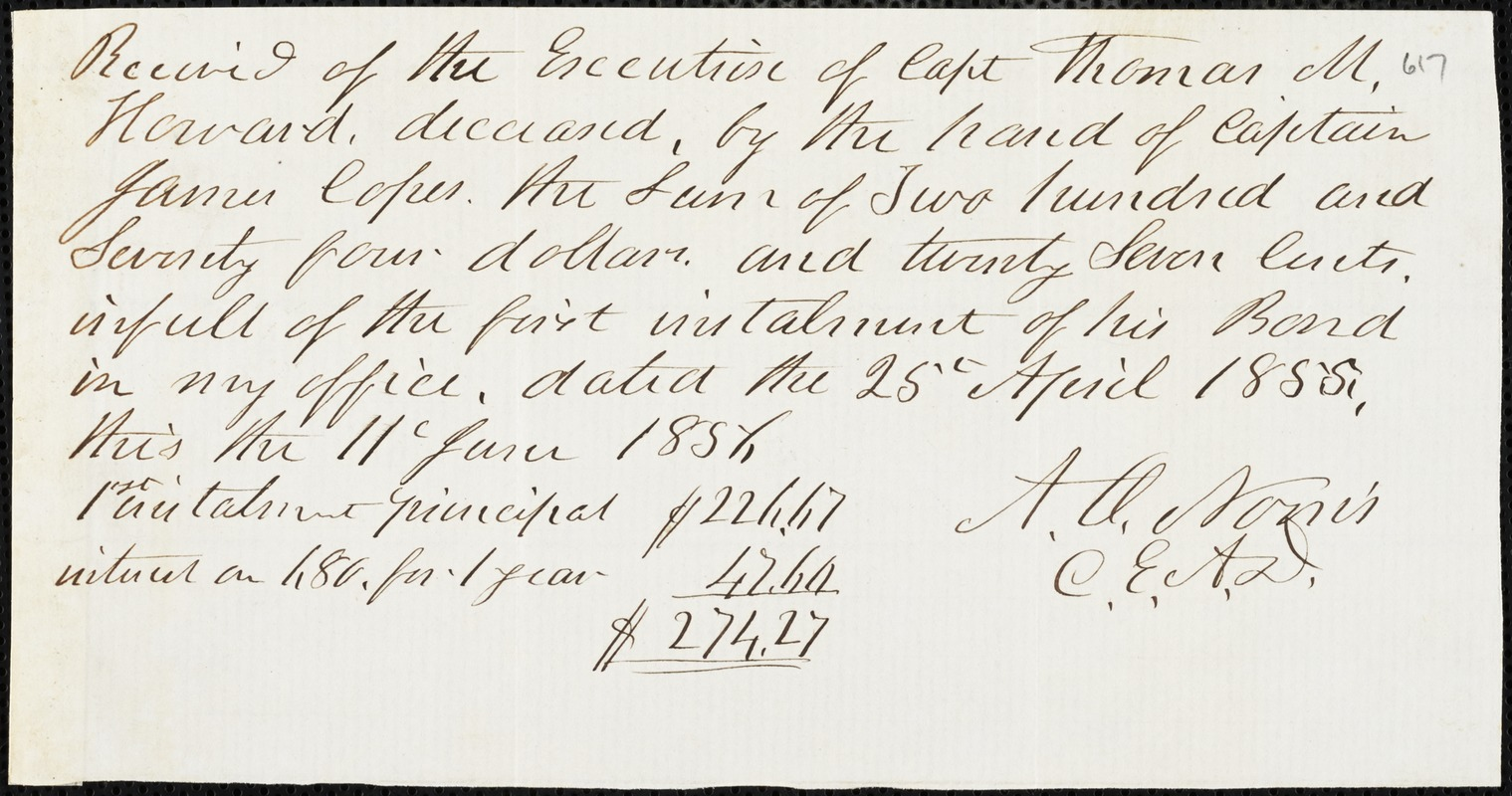 A.O. Norris, [Charleston, S.C.?], autograph document signed to Ziba B. Oakes, 11 June 1856