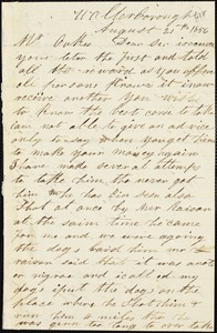Caleb Sauls, Walterborough, S.C., autograph letter signed to Ziba B. Oakes, 21 August 1856