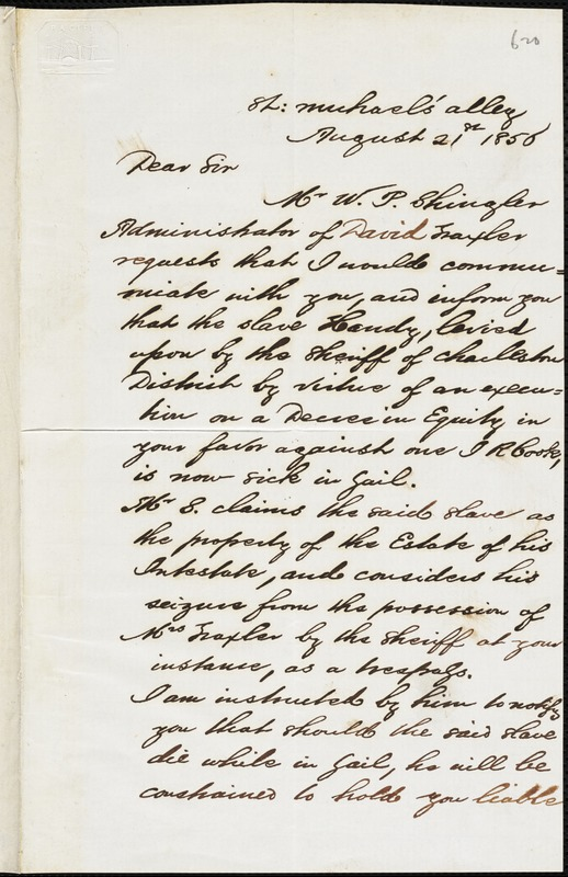 H. Buist, [Charleston, S.C.], autograph letter signed to Ziba B. Oakes, 21 August 1856