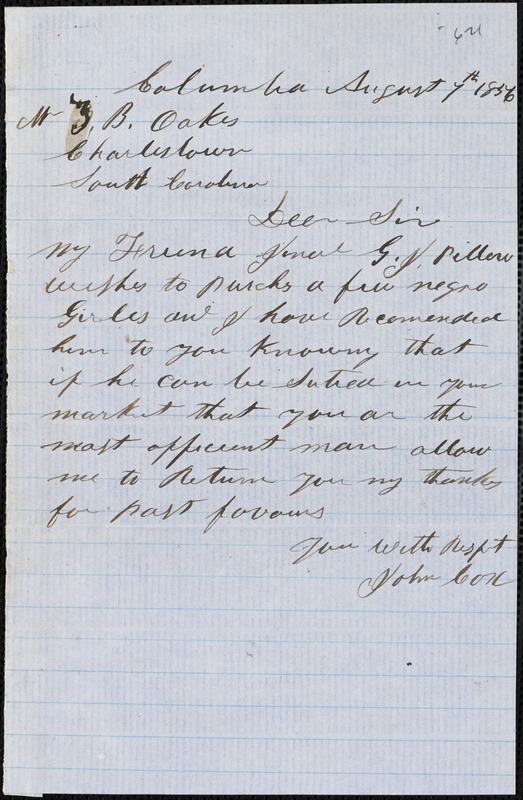 John Cox, Columbia, S.C., autograph note signed to Ziba B. Oakes, 7 August 1856
