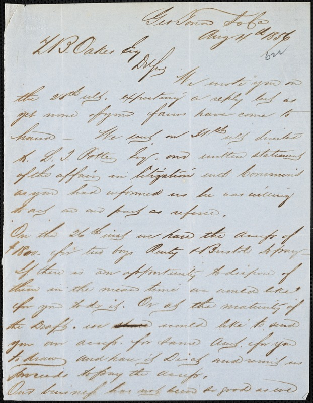 Leighton & Sherman (W.F. Joy), Georgetown, manuscript letter (incomplete) signed to Ziba B. Oakes, 4 August 1856