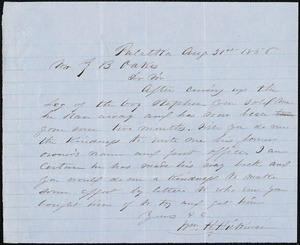 William H. Hickman, Pulatka, Fla., autograph note signed to Ziba B. Oakes, 31 August 1856
