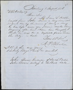 A.P. Robertson, Hamburg, Tenn. [?], autograph note signed to Ziba B. Oakes, 8 August 1856