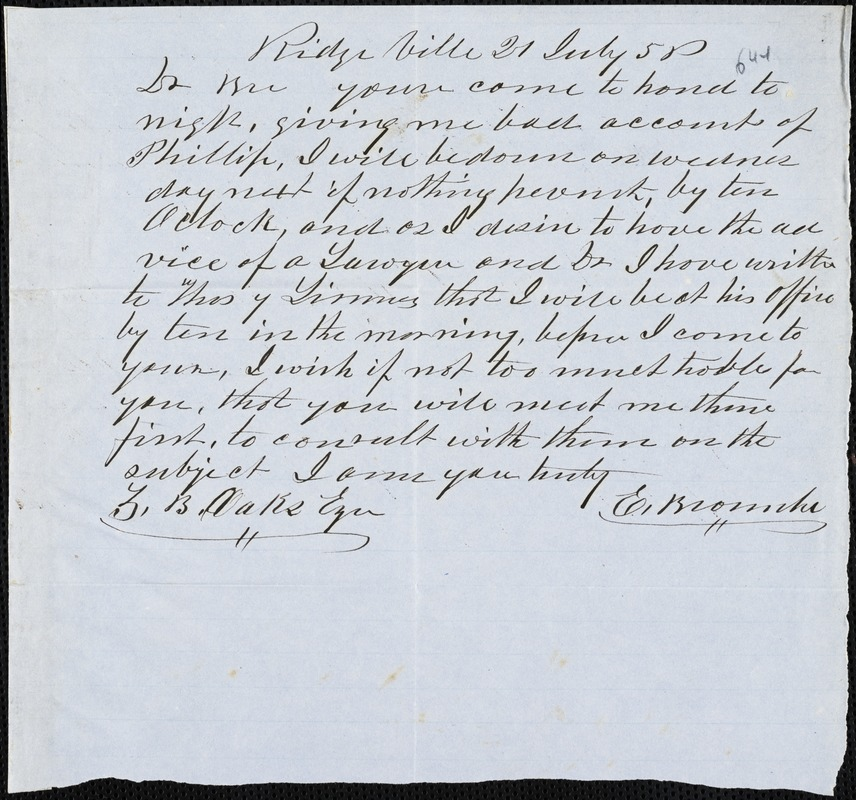 E. Brownlee, Ridgeville, S.C., autograph letter signed to Ziba B. Oakes, 21 July 1856