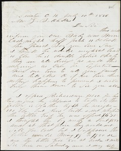 A. J. McElveen, Sumter Court House, S.C., autograph letter signed to Ziba B. Oakes, 10 July 1856