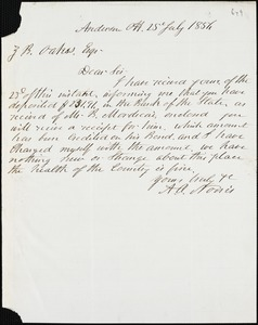 A.O. Norris, [Charleston, S.C.?], autograph note signed to Ziba B. Oakes, 25 July 1856