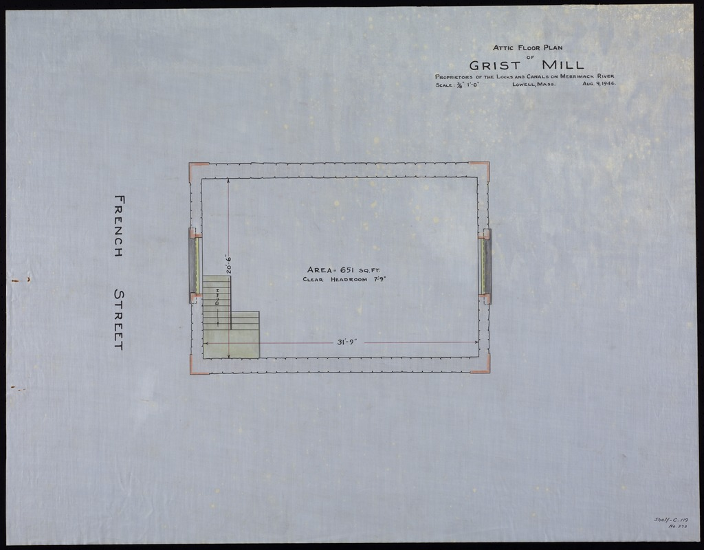 Grist mill. Attic floor plan