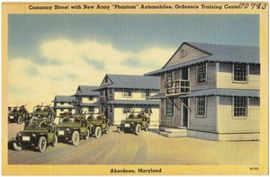 "Company Street with new Army ""Phantom"" Automobiles, Ordnance Traning Center"
